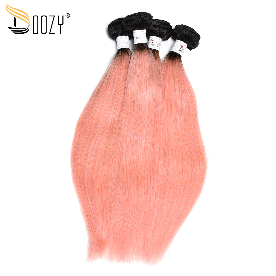 Doozy Ombre Color 1b/Pink Brazilian Hair 4 Pieces Hair Extensions Remy Straight Rose Gold Human Hair Bundles