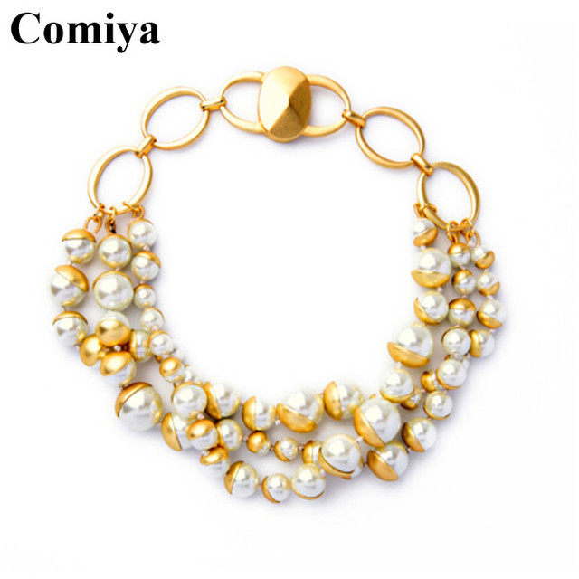 Gold plated multi layers jewelry link chain copper glass pearls choker necklaces for women collar world of warcraft necklace