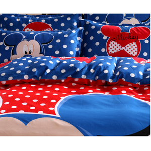 Image 4 - Disney Blue Mickey Mouse Duvet Cover Set 3 or 4 Pieces Double Single Size Bedding Set for Children Birthday Gift Bedroom Decor