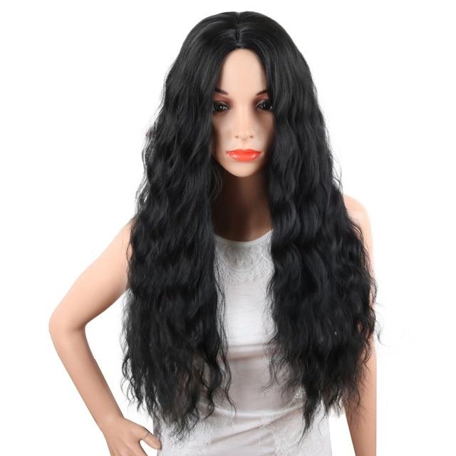 Deyngs Hitam Bergelombang Sintetis Wig Panjang Alami Wig Rambut Longgar  Tubuh Gelombang Wig Tahan Panas Wig e4bcec4045