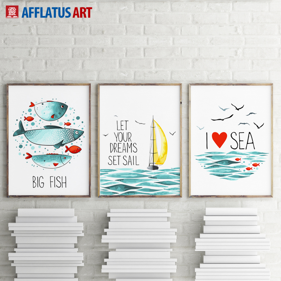 AFFLATUS Wall Art Painting Modern Sea Landscape Canvas Painting Canvas Poster Prints Art
