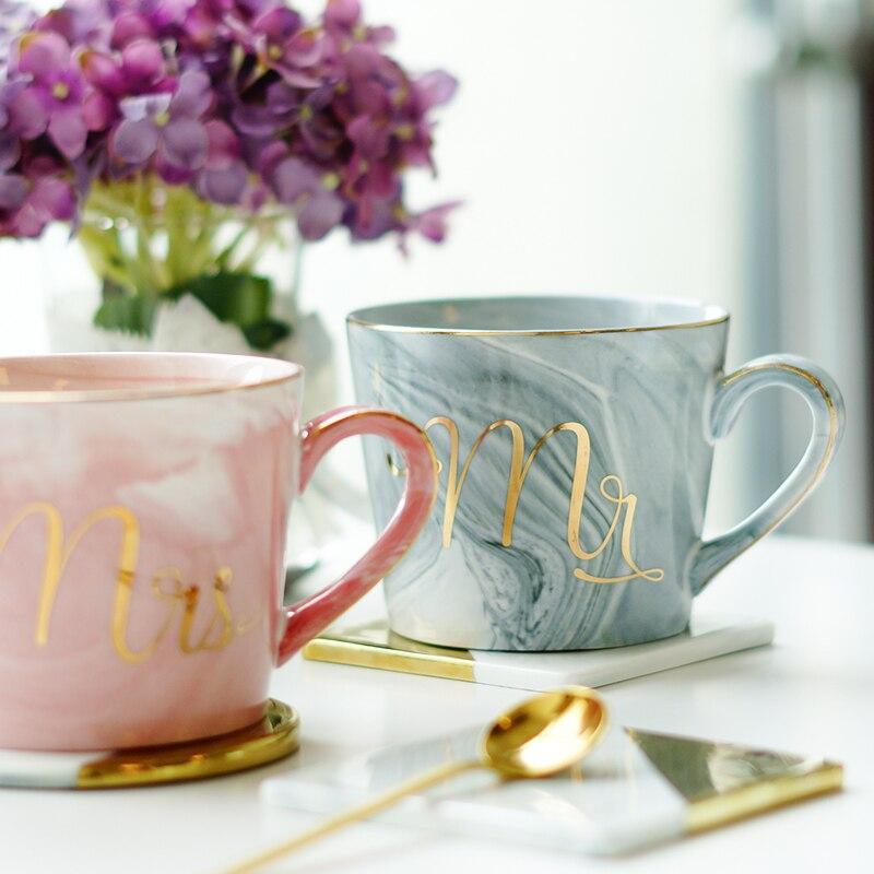 europe style gold monogram mugs natural marble porcelain coffee mug