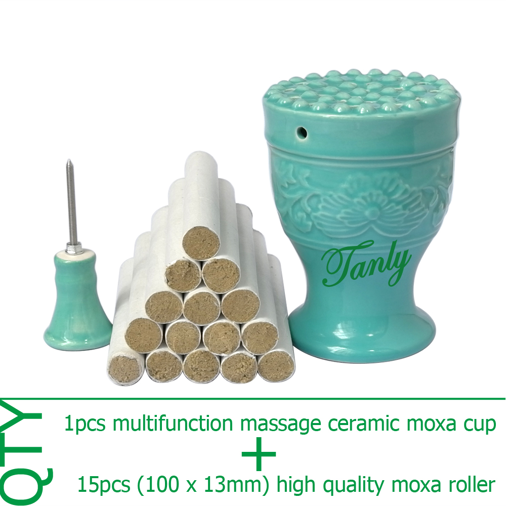 New type multifunction double-deck ceramic massage beauty SPA relief moxa device +15pcs high quality moxibustion stick eye and facial massage 7mm diameter copper moxibustion rod beauty spa with 10 pcs moxa stick acupuncture map