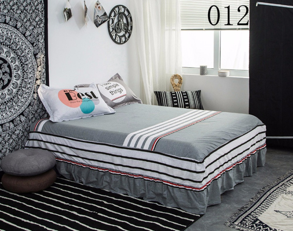 gray 1pcs cotton bed skirt mattress cover petticoat twin full queen king bed skirts bedspread. Black Bedroom Furniture Sets. Home Design Ideas