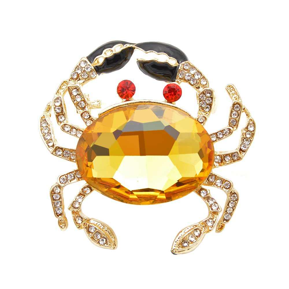 CINDY XIANG 3 Colors Choose Big Crystal Crab Brooches for Women Fashion Animal Pins Rhinestone Fish Jewelry Coat Accessories