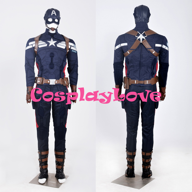 Newest Custom Made American Movie Captain America Costume The Winter Soldier Cosplay High Quality ((Shield is not included))