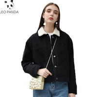 Winter New Fashion Women Casual Fur Lining Coats Single Breasted Turn Down Collar Jackets Jean Denim Female Long sleeve Overcoat
