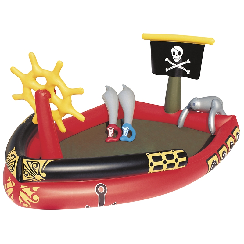 Inflatable Giant Pirate Boat With Water Sprayer Cannon Swim Toys For Pool Fun Floating Raft Summer