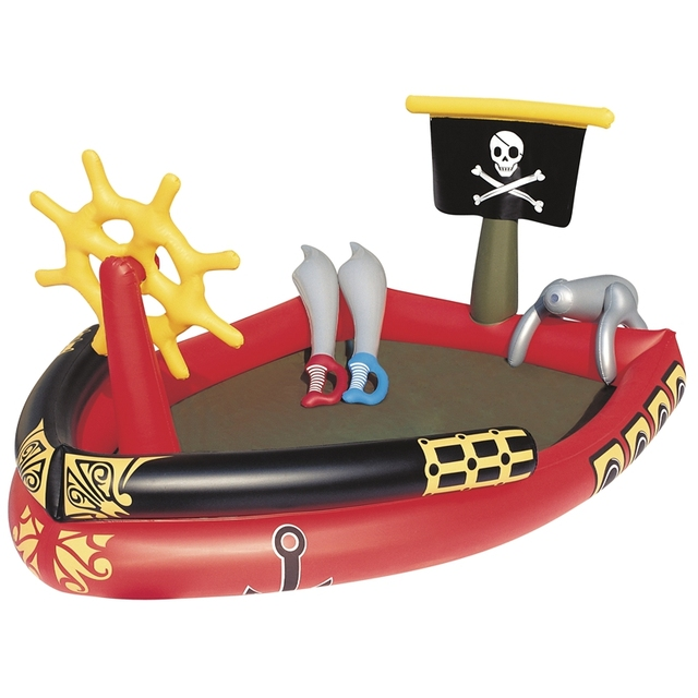 Inflatable Giant Pirate Boat With Water Sprayer Cannon Swim Toys For