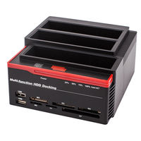 Multi Function External Three Bay USB 3.0 to SATA IDE 2.5 3.5 Hard Drive SSD Docking Station With 2 Port USB Hub Card Reader