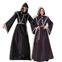 Halloween Couples COSPLAY Wizard Costumes Classic Black Sorcerers Robes Christmas Witches Stage Show Uniform Party Garment