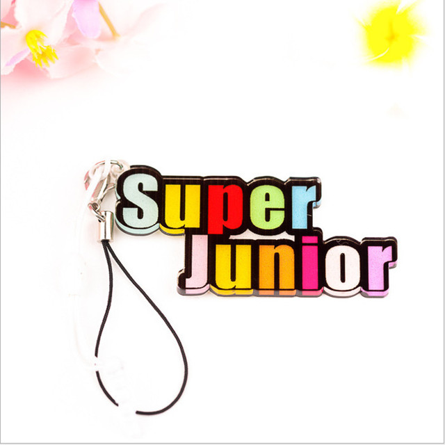 korea pop super junior logo plastic keychain women bag men jewelry