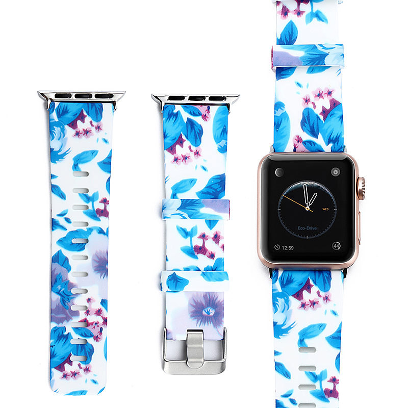 ASHEI Flower Floral Silicone Strap For Apple Watch Band Series 3 2 1 Sport Replacement Bracelet Watchband For iWatch 42mm 38mm цена
