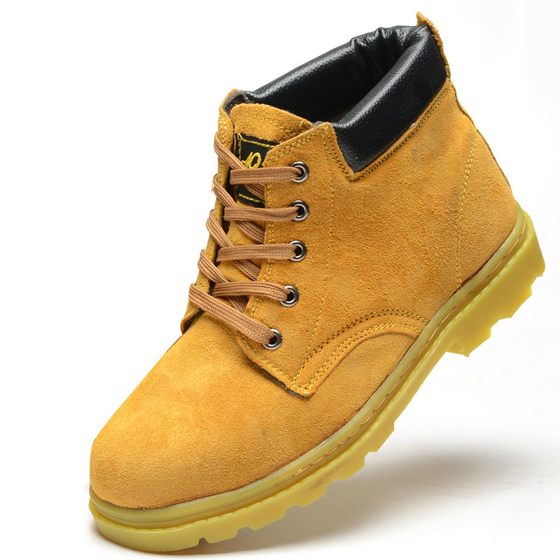 mens fashion suede leather plate bottom ankle boots steel toe caps work safety shoes lace up flat shoe protection footwear male