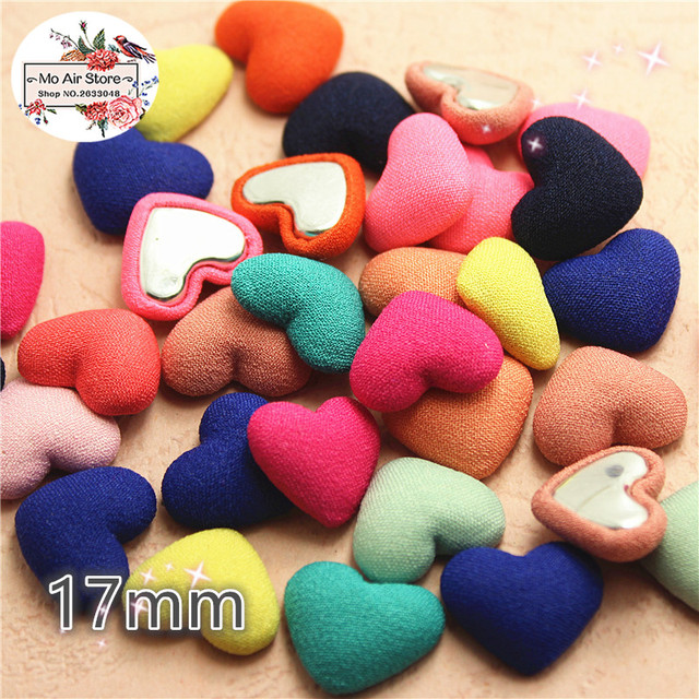 US $1 85 |50pcs mix color Flatback Fabric Covered heart Buttons Home Garden  Crafts Cabochon Scrapbooking DIY 17mm-in Buttons from Home & Garden on