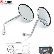 купить for Universal motorcycle accessories mirrors chrome round mirror motorcycle long stem for kawasaki yamaha suzuki ducati honda et по цене 964.86 рублей