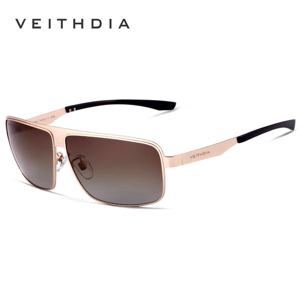 VEITHDIA Brand Stainless Steel Aluminum Polarized UV400 Mens Square Vintage Sun Glasses Male Eyewear Sunglasses For Men VT2492