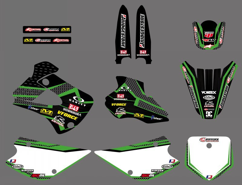 H2CNC 0475 Net new style TEAM Graphics BackgroundS DECALS For Kawasaki KX80 1994 1995 1996 1997