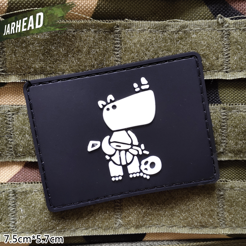 Tactical Rhino Military Pvc Patches Velcro Rubber Armband Tactical Badge Personality For Backpack Hat Clothes