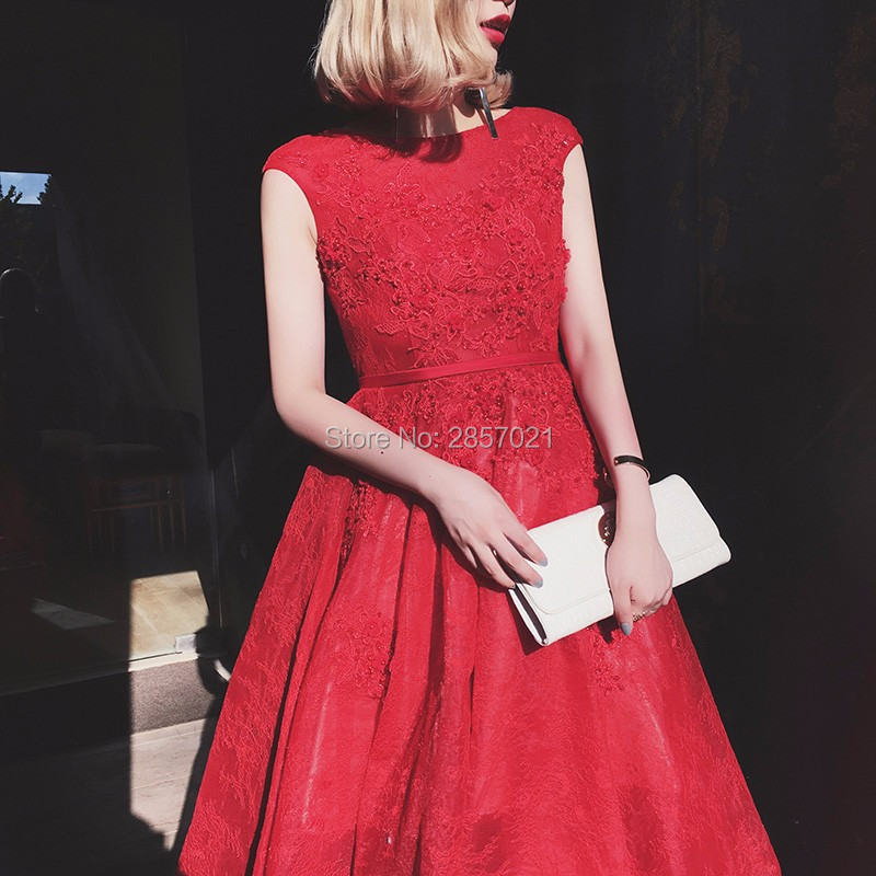Stunning Red Lace Oriental Chinese Evening Dress Cheap Elegant Long ...