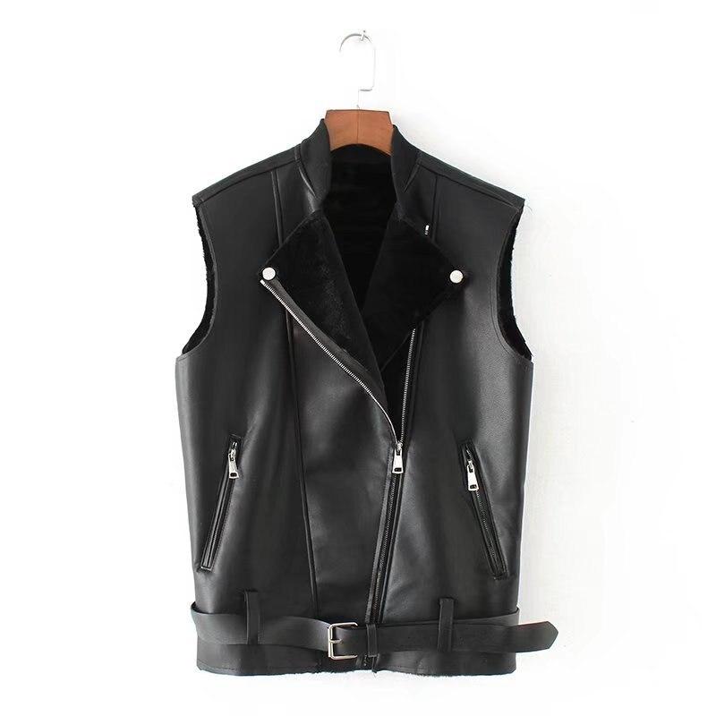 2019 nouveauté Style coréen veste en fausse fourrure femmes avec ceinture et fermeture éclair moto gilets en cuir femme hiver livraison gratuite