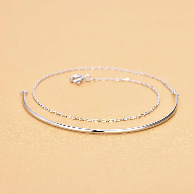 Free Shipping Top Quality Wholesale Real 925 Sterling Silver Simple Curved Semi-Circular Multi-layer Bracelets Fine Jewelry
