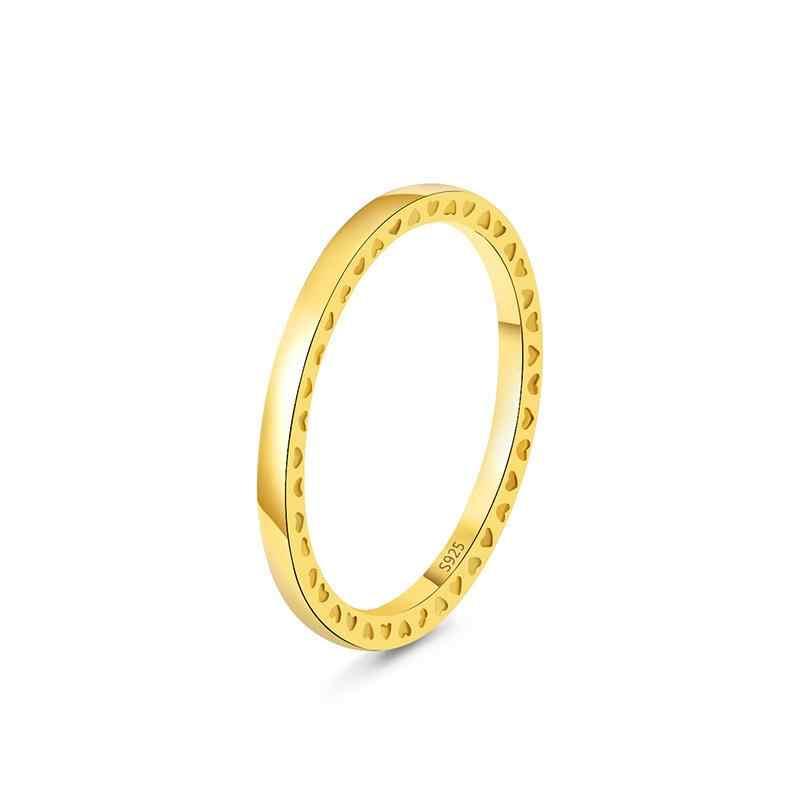 16 stile Nuovo 925 Anelli D'argento Con Oro Rosa Classico Cuore di Amore Grande Rotonda di Cristallo Anello di Barretta Per I Monili Delle Donne