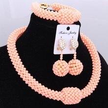 African jewelry Sets Beads Light Orange Pink Nigerian Bridal Jewellery Set One Layer Balls Indian Necklace Set For Women 2018 wonderful orange bridal beads indian african costume jewelry set nigerian wedding necklace for women wdk 017