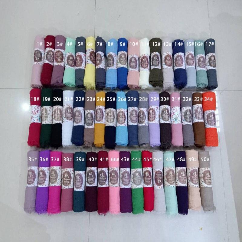 84 Farbe Gefältelt Hijab Falten Schal Blase Baumwolle Viskose Schal Crinkle Klar Schal Muslimischen Kopf Hijab Schal Bandana 10 Teile/los Modische Muster Bekleidung Zubehör