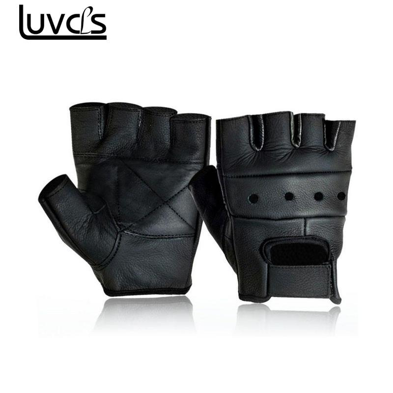 Mens Leather Fingerless Driving Motorcycle Biker Gloves Black Male Sheepskin Mittens