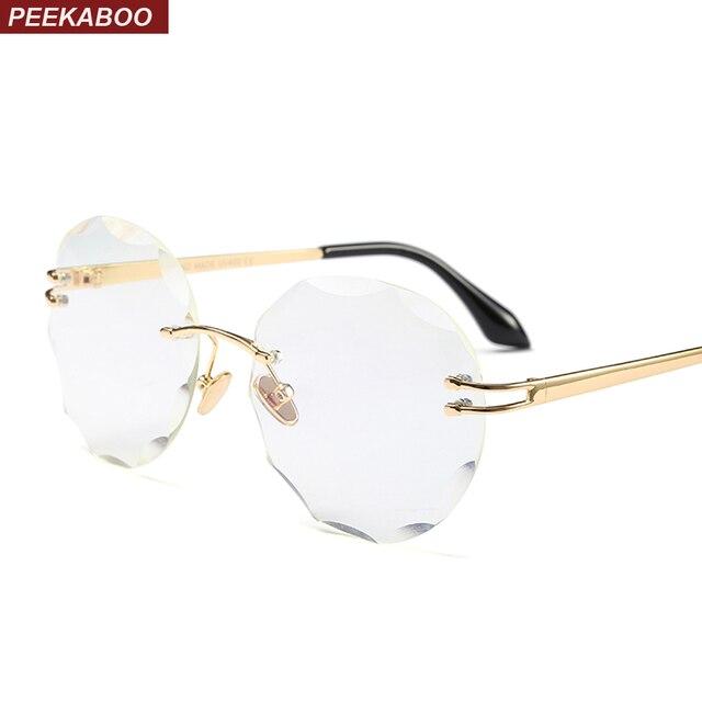 Peekaboo frameless eyeglasses women rimless 2018 metal clear lens ...