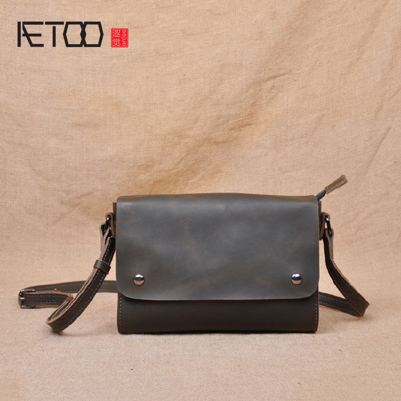 AETOO Crazy horse skin retro original mini Messenger bag small square bag simple art leather handbags first layer of small leath bag female new genuine leather handbags first layer of leather shoulder bag korean zipper small square bag mobile messenger bags