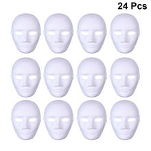 24pcs White Face Adult Mask Blank Male Female Mask With Bungee Cord Party Halloween Costume DIY Hand Painted Unpainted Mask