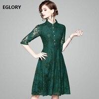 녹색 블랙 레이스 드레스 새로운 도착 Vestidos 2018 봄 여름 여성 턴 다운 칼라 Jewlery입니다 버튼 우아한 파티 스케이팅 드레