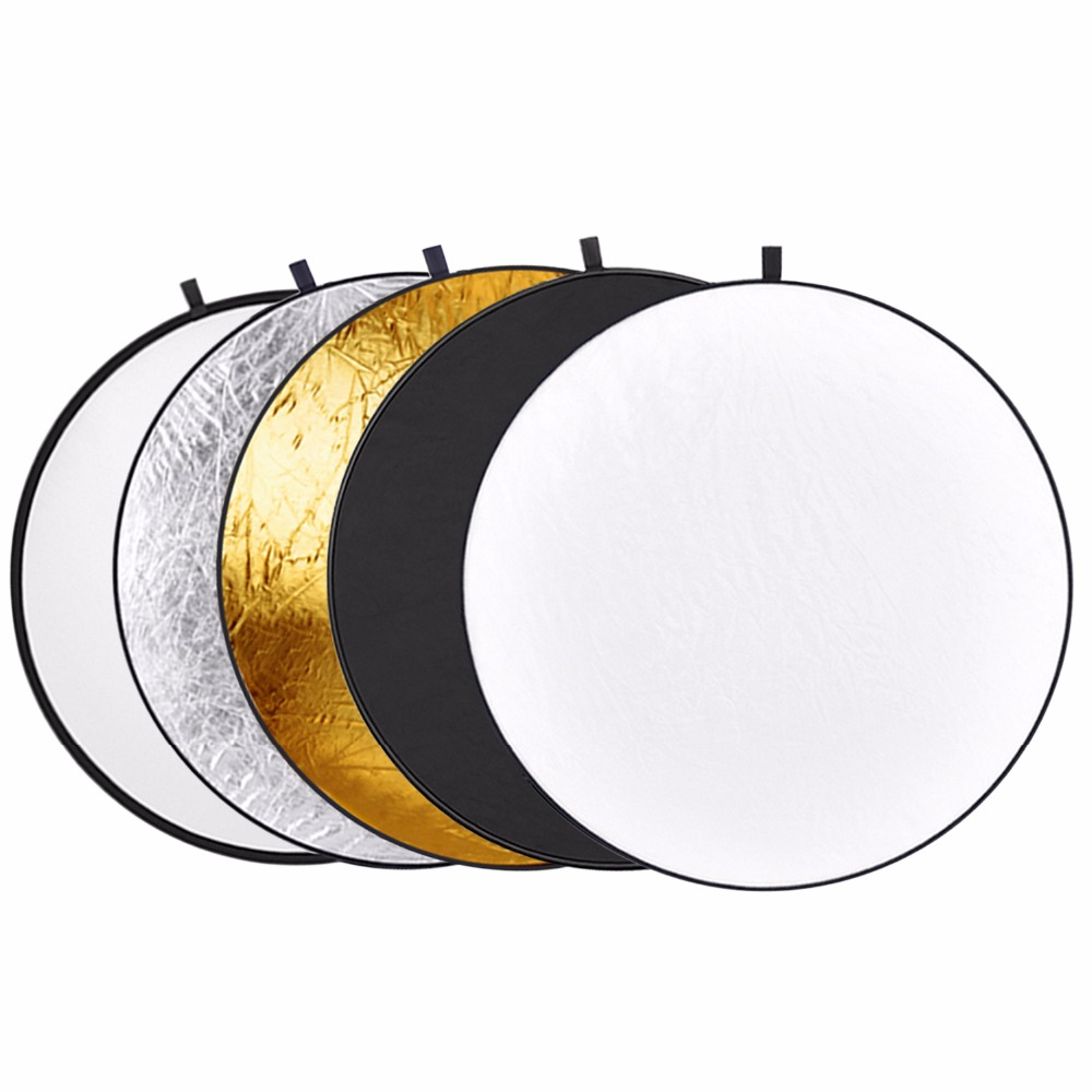 Neewer Reflector cu lumină multi-disc pliabilă cu geantă de înșurubat de 5 in 1, cu înălțime de 43 inch / 110 cm, cu geantă translucidă, argintiu, aur, alb și negru