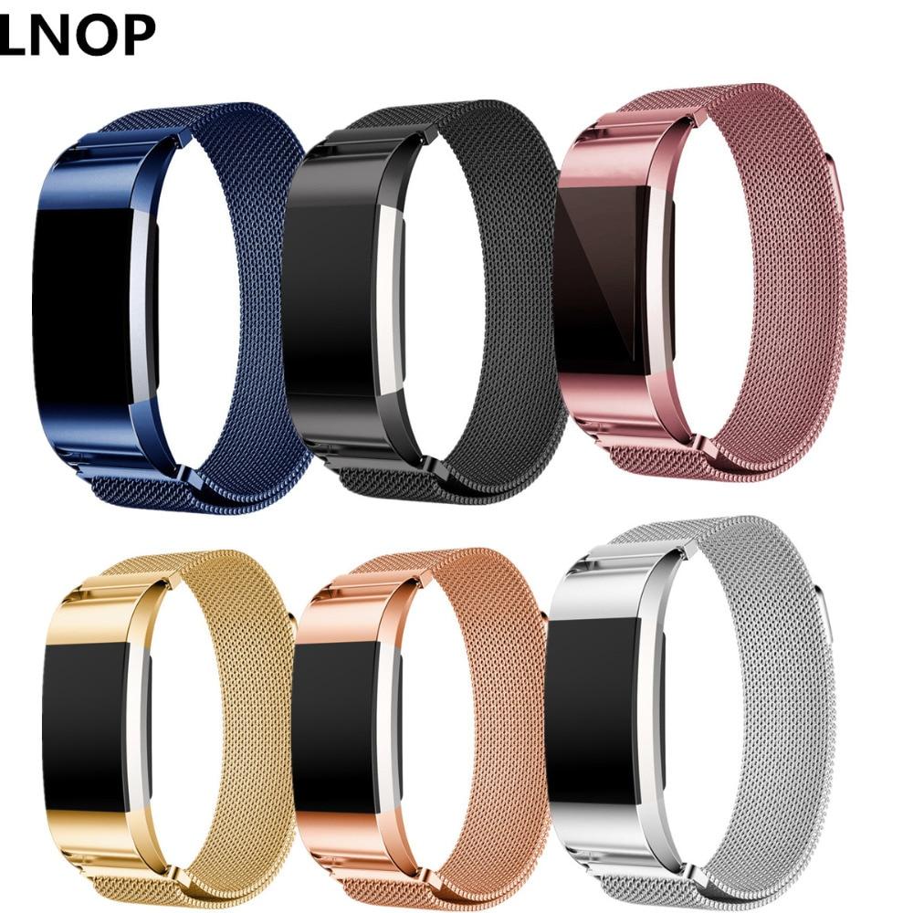 LNOP Milanese Loop strap per Fitbit Carica 2 fascia di ricambio Fascia wristband Magnetico Link Bracciale In Acciaio smartwatch