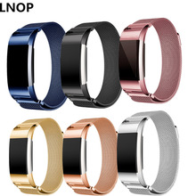 LNOP Milanese Loop strap for Fitbit Charge 2 band replacement Magnetic wristband Link Bracelet Stainless Steel smartwatch Band