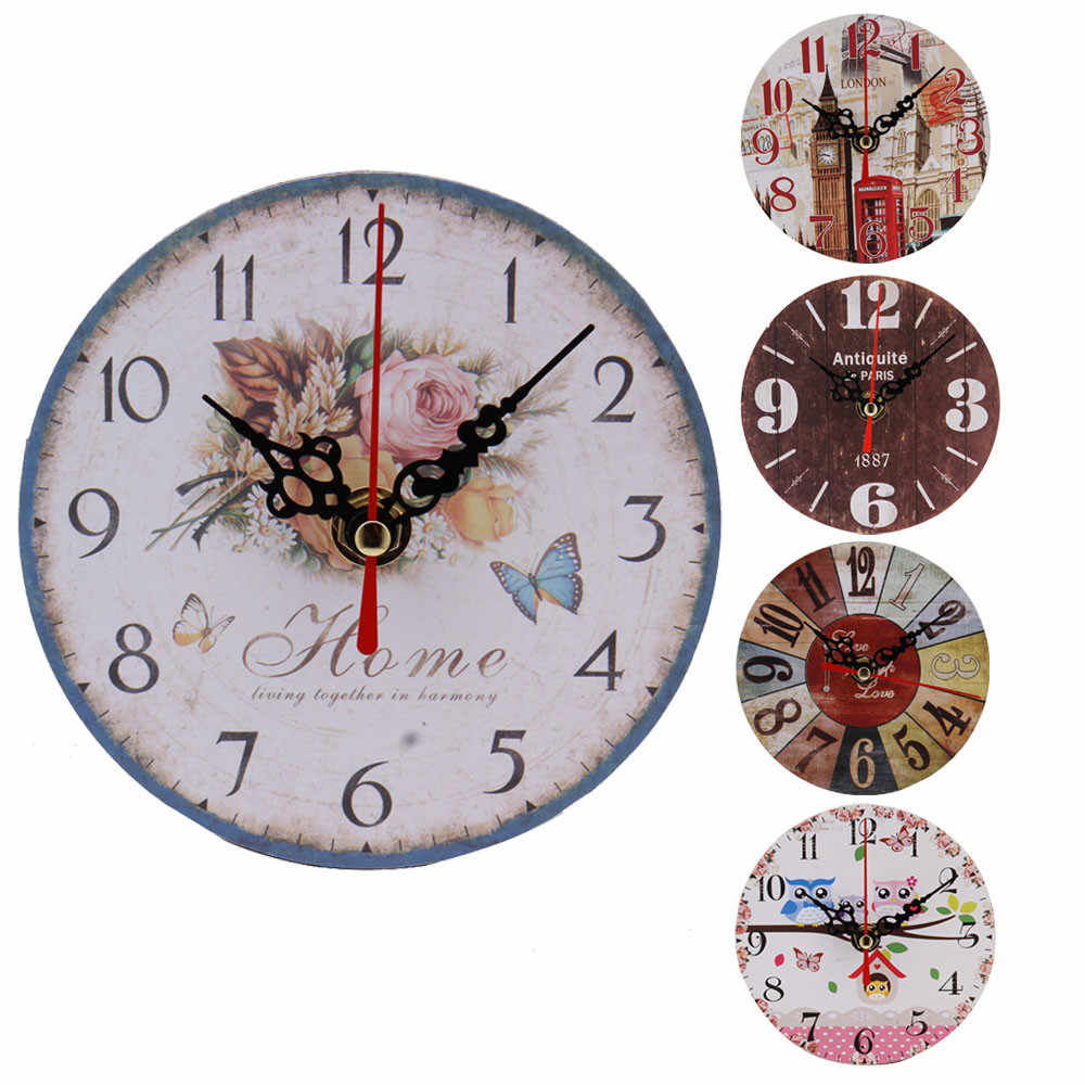 Retro European Wall Clocks Round Bedroom Living Room Digital Dial Mute Metal Wall Clock Home Decoration dropshipping 325Z