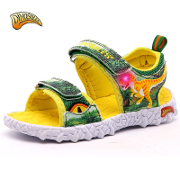 Kids Boys Sandals 2019 LED Light Summer Shoes Leather Summer Kids Shoes Slippers Beach Shoes 3D Dinosaur 27 34#