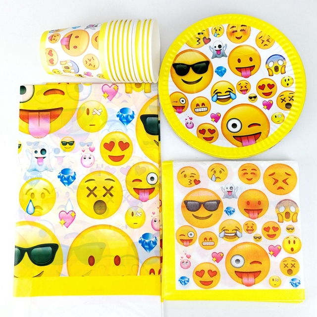 41pcs Emoji Tableware Boy Girl Kids Birthday Party Decoration Supplies 1 Tablecloth 10