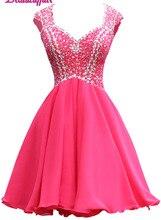 KapokBanyan Real Photo Pink Crystal Short Prom Dresses 2017 Custom made Backless Sleeve Mini Party Dress Vestido de festa