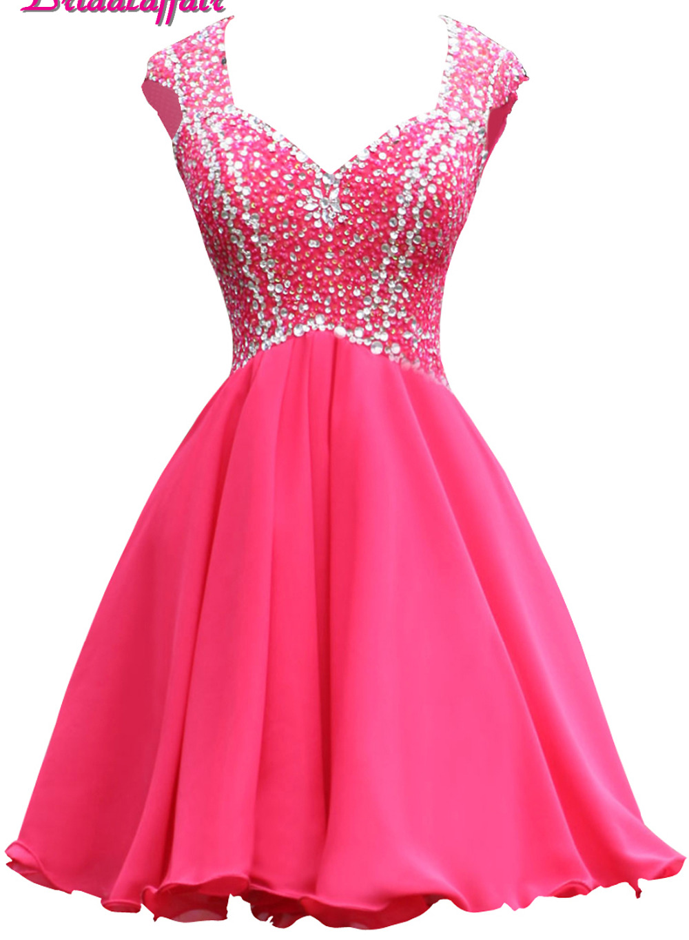 BridalaffairReal PhotoBeadingCrystal Short   Prom     Dresses   2019 Custom made Backless Short Sleeve Mini Party   Dress   Vestido de festa