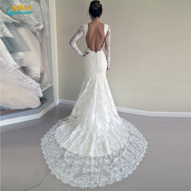 Sexy-Lace-Mermaid-Wedding-Dress-With-Long-Sleeves-New-Arrival-Fashion-Backless-Court-Train-Elegant-Bridal
