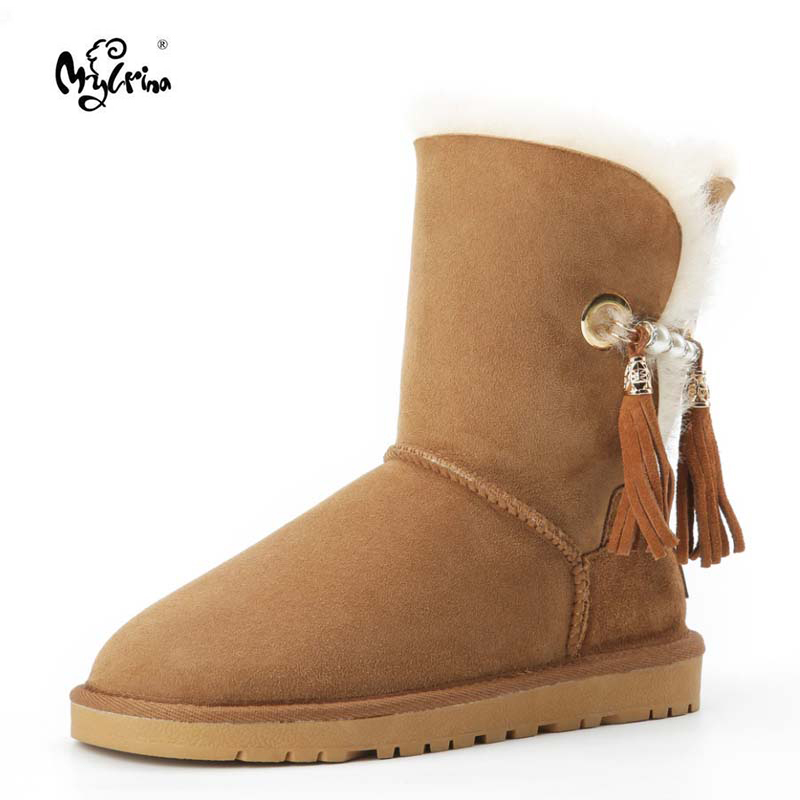 MYLRINA Australia Classic Hot Sale Fashion Genuine Sheepskin Leather Snow Boots Winter Fur Waterproof Women Shoes Botas Mujer image