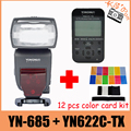 YONGNUO YN685 YN 685 Drahtlose HSS TTL Speedlite Blitz Bauen im Empfänger + YN622C TX + 12 stücke farbe karten-in Blitze aus Verbraucherelektronik bei