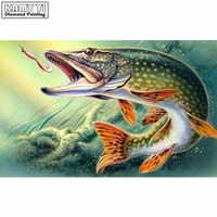 5D DIY Diamond embroidery Cross stitch fish Full Square/Round Diamond mosaic Diamond painting decoration HYY