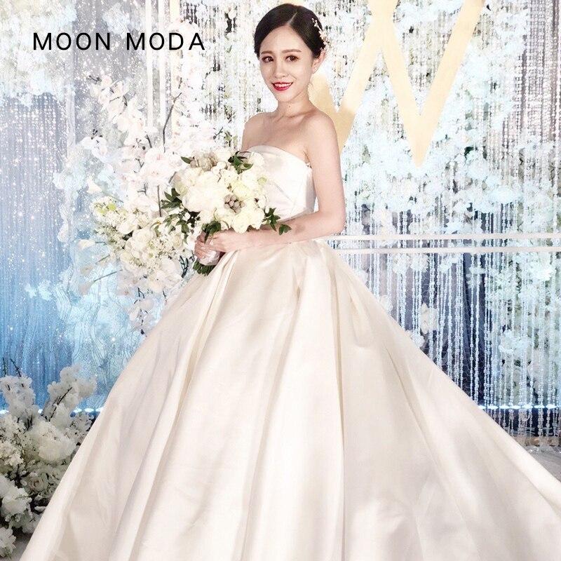 MOON MODA Satin Wedding Dress 2018 Strapless A Line