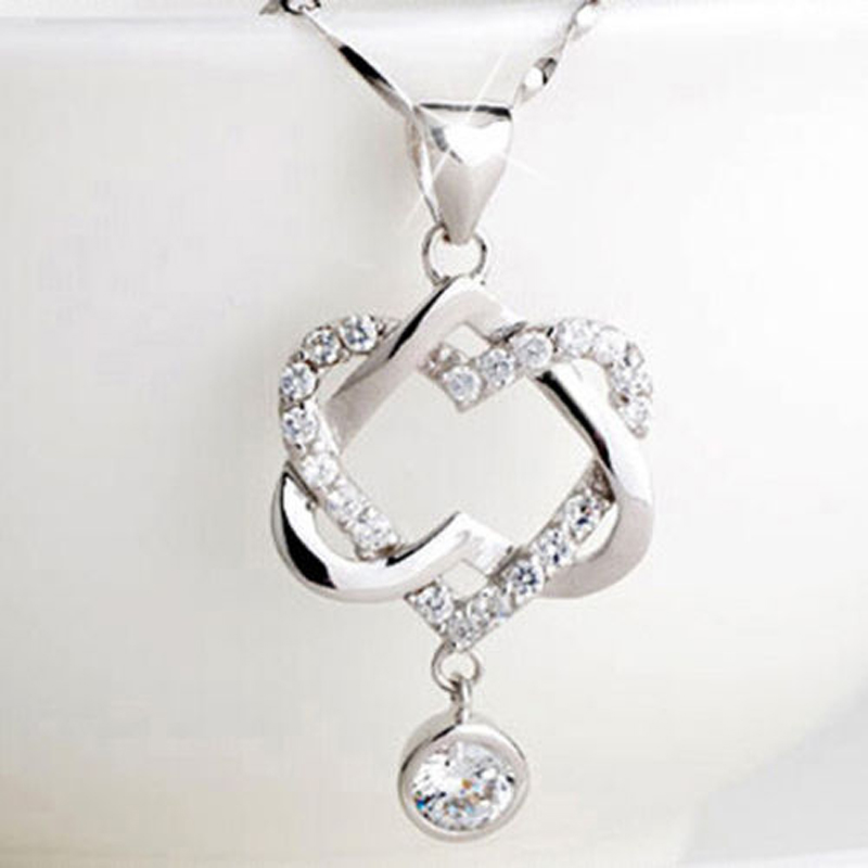 Trendy double heart pendant necklace women silver plated chain lover trendy double heart pendant necklace women silver plated chain lover lady girl gifts bijoux fashion jewelry mozeypictures Image collections