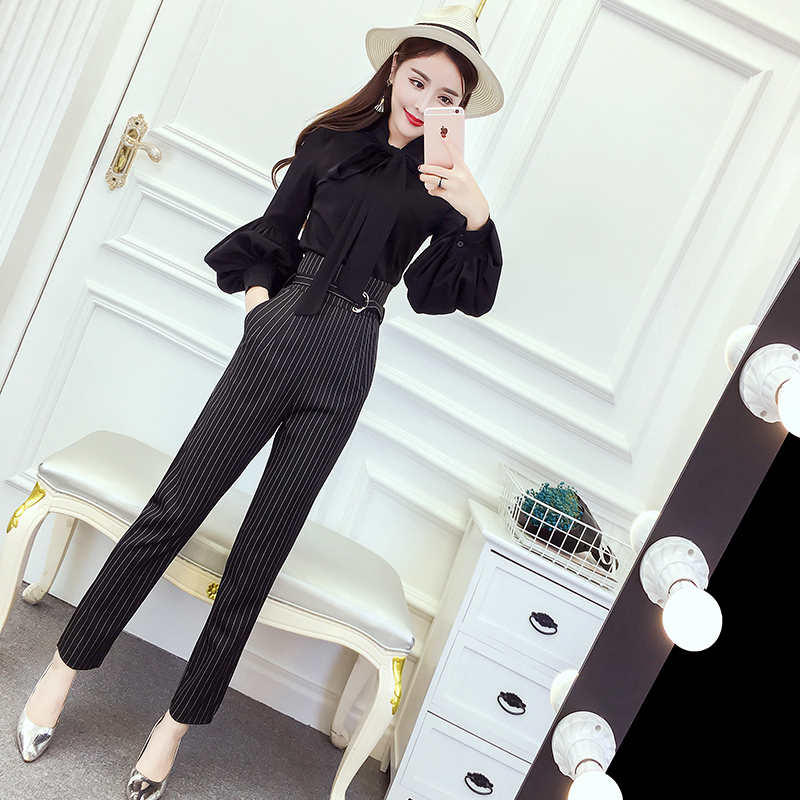 Women's 2018 Spring and Autumn new style chiffon blouse career wear stripes striped straight jeans Fashionable Set 2