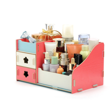 Home Garden - Home Storage  - Ode-Rin Receive A Case Korean Woodiness Desktop DIY Cosmetics Receive A Case Organizer Storage Box Mac Cosmetics Headphones
